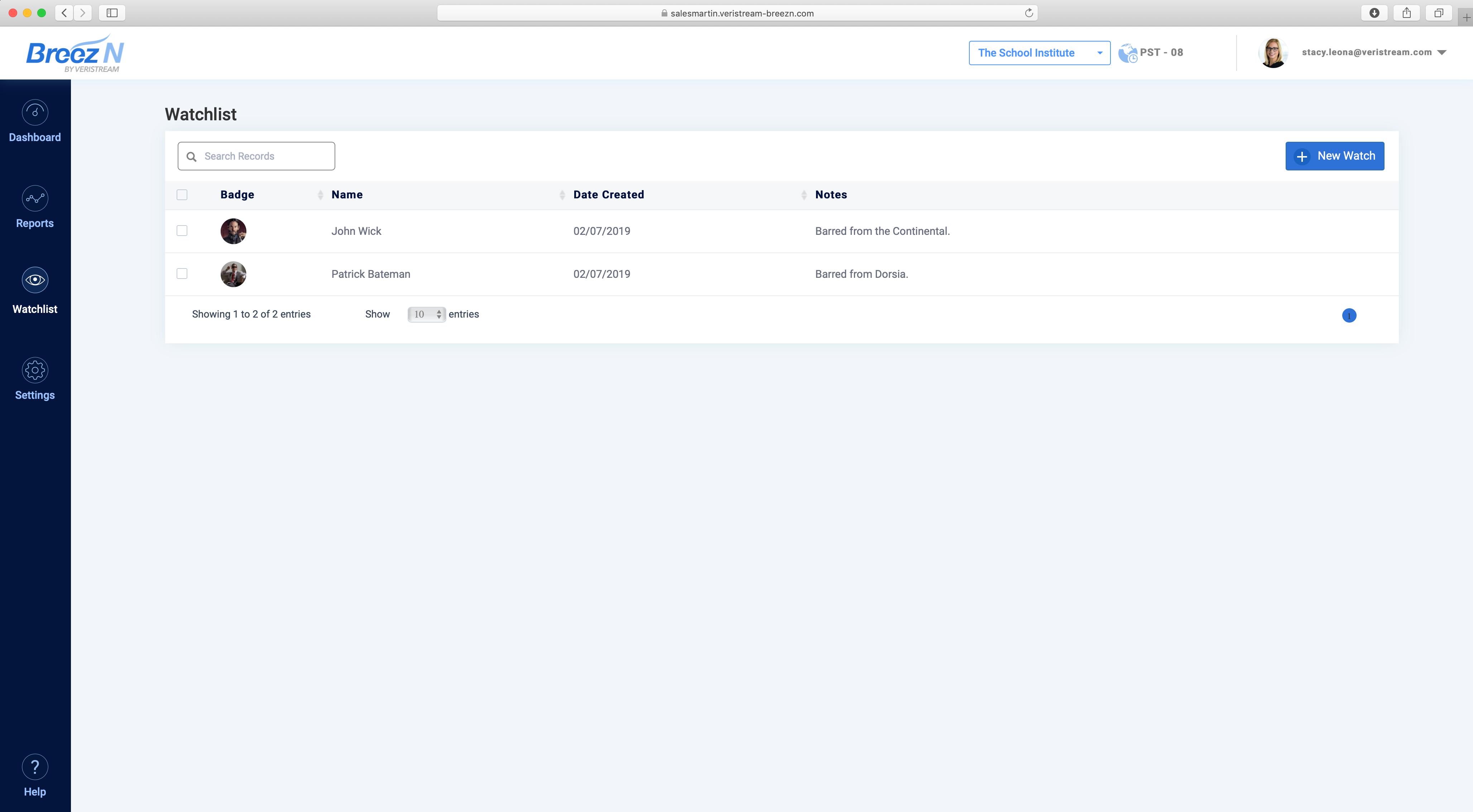 iVisitor Software - Watchlist