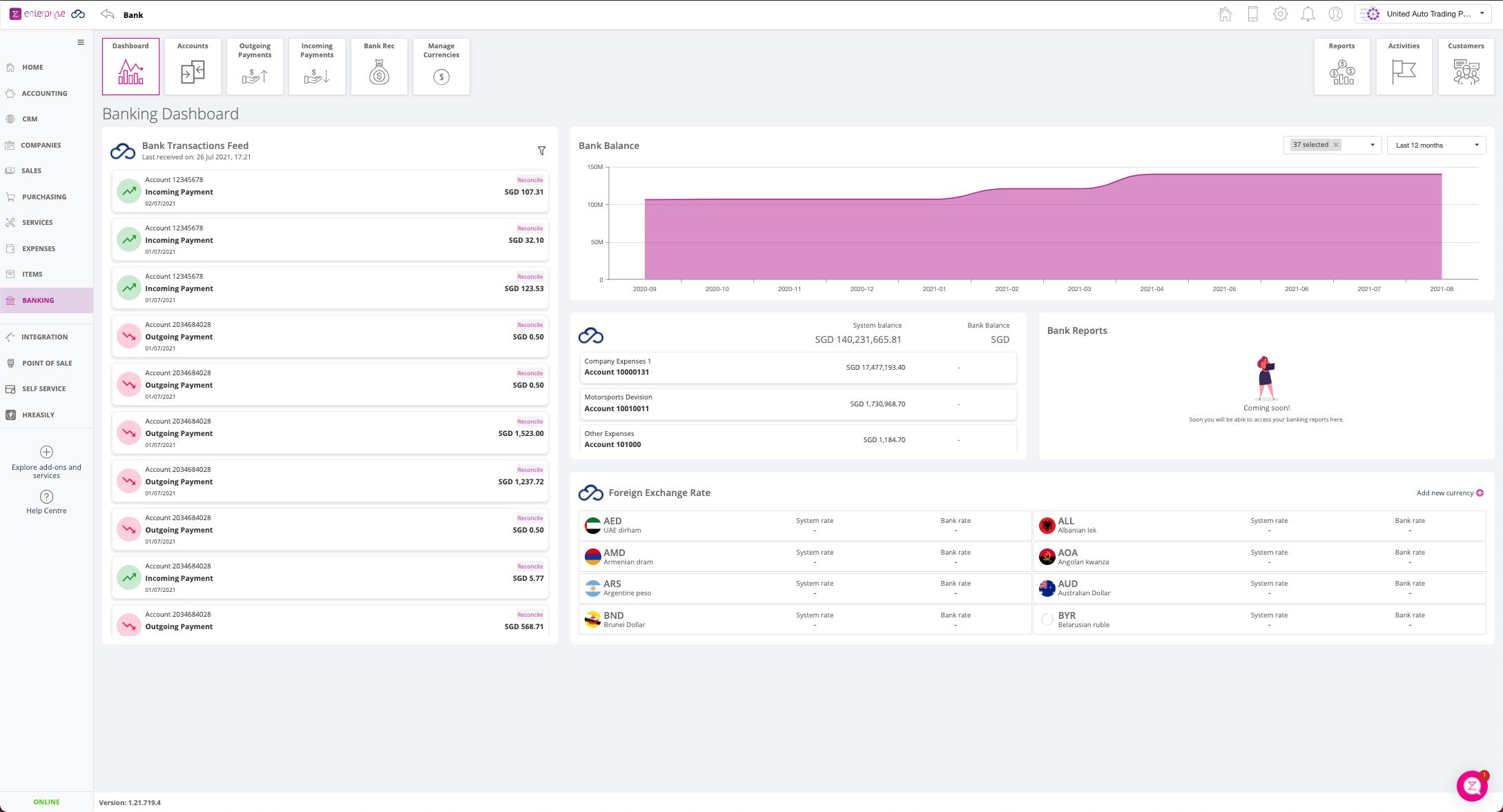 Enterpryze Software - Enterpryze Banking Dashboard