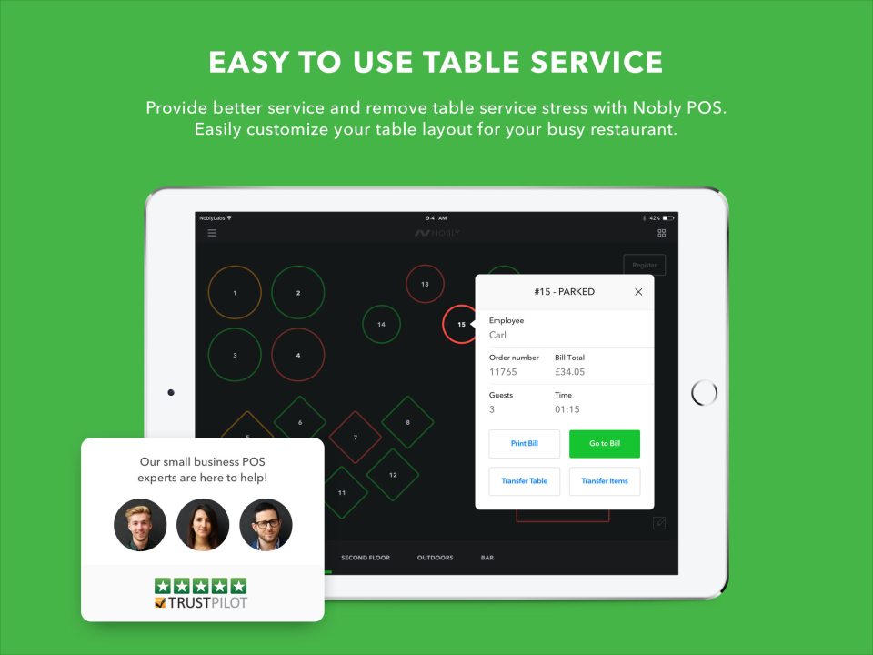 Restaurants and bars can benefit from the table service feature within Nobly