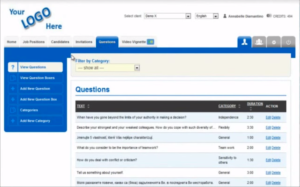 Video Recruit Software - Interview questions %>