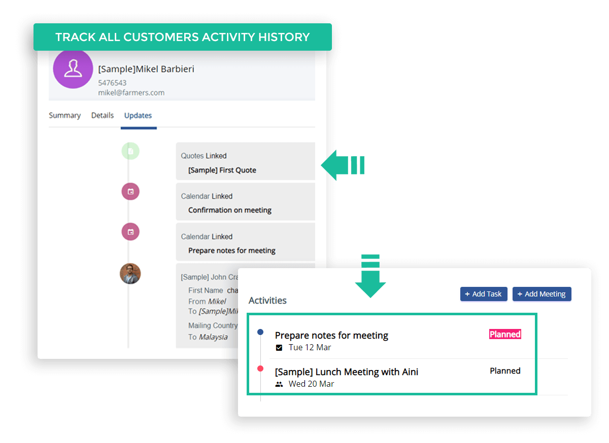 Log all your activities with every contact in an organized manner. Log notes for phone calls and off-screen related activities will direct to your customers' activity history.