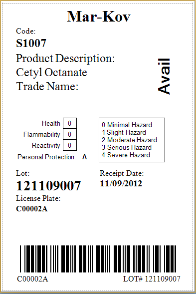 Mar-Kov Chemical Management System Software - Raw material label