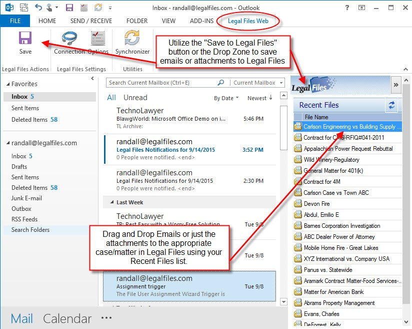 Legal Files email integration