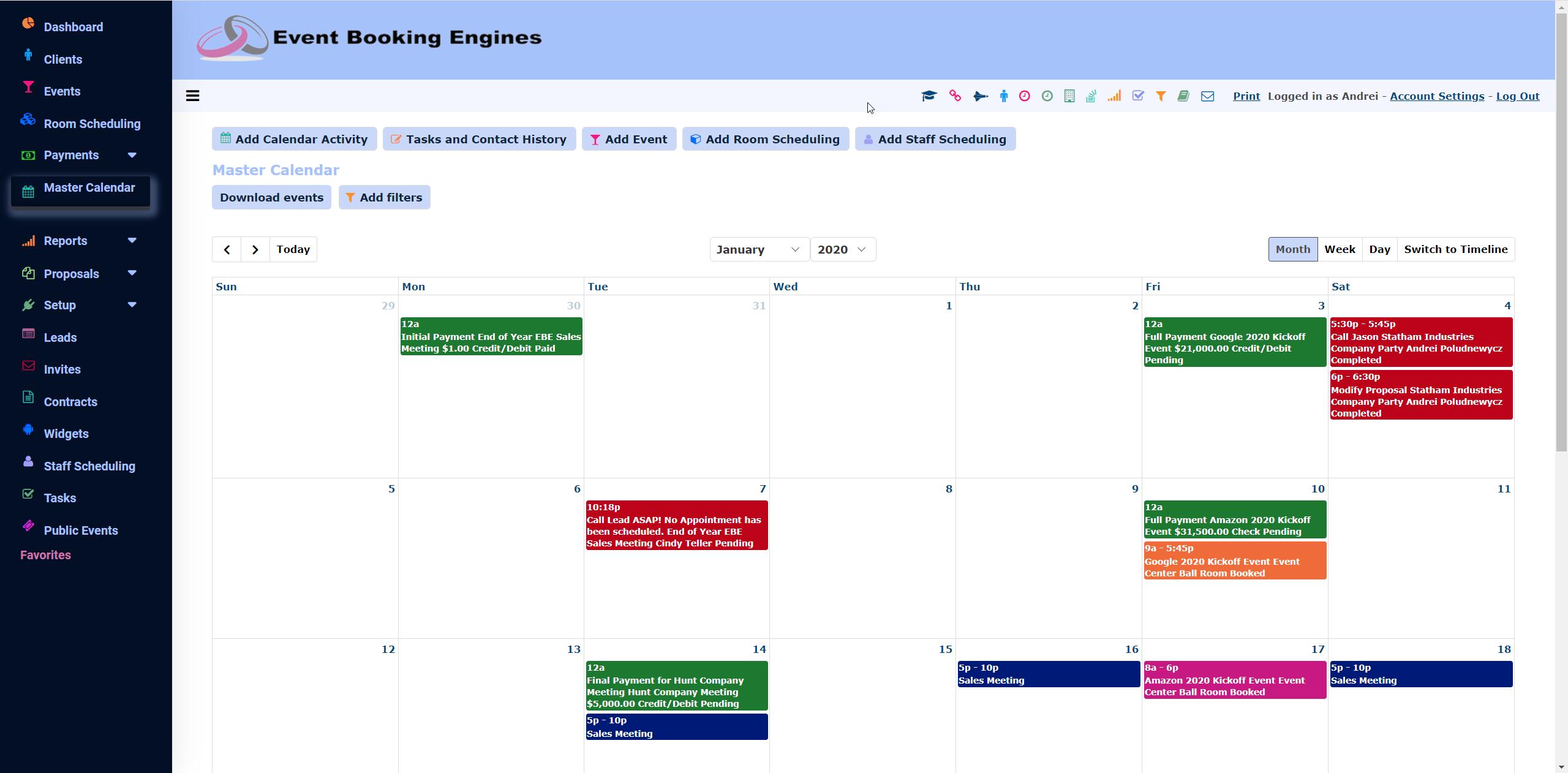 Master Calendar Grid View