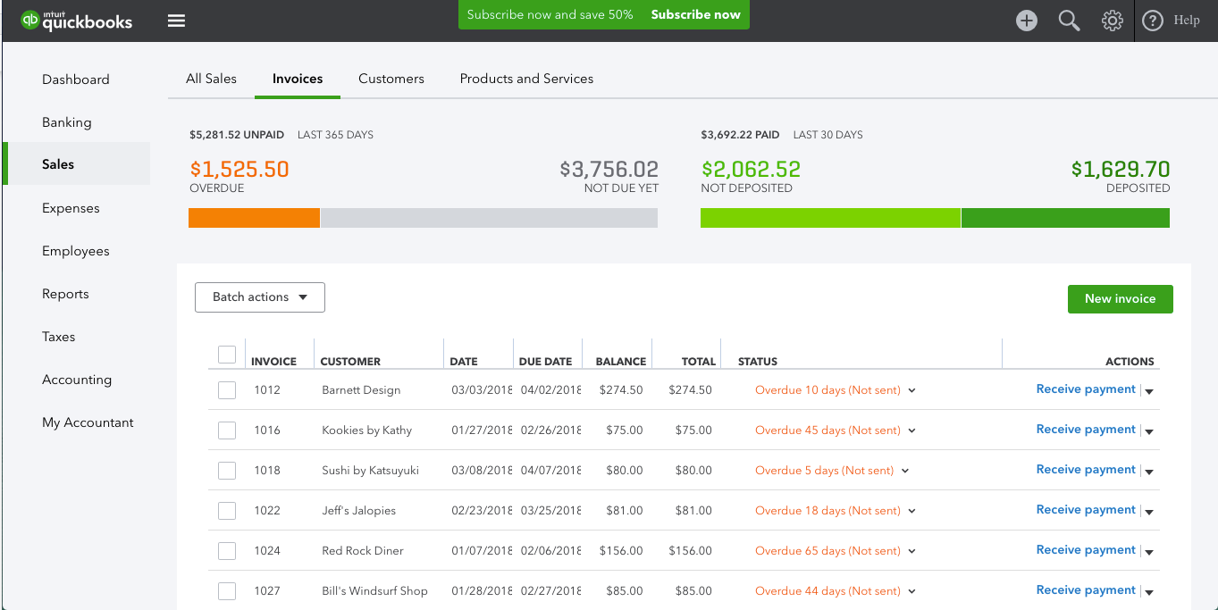 Overdue and not-deposited invoices can be easily tracked