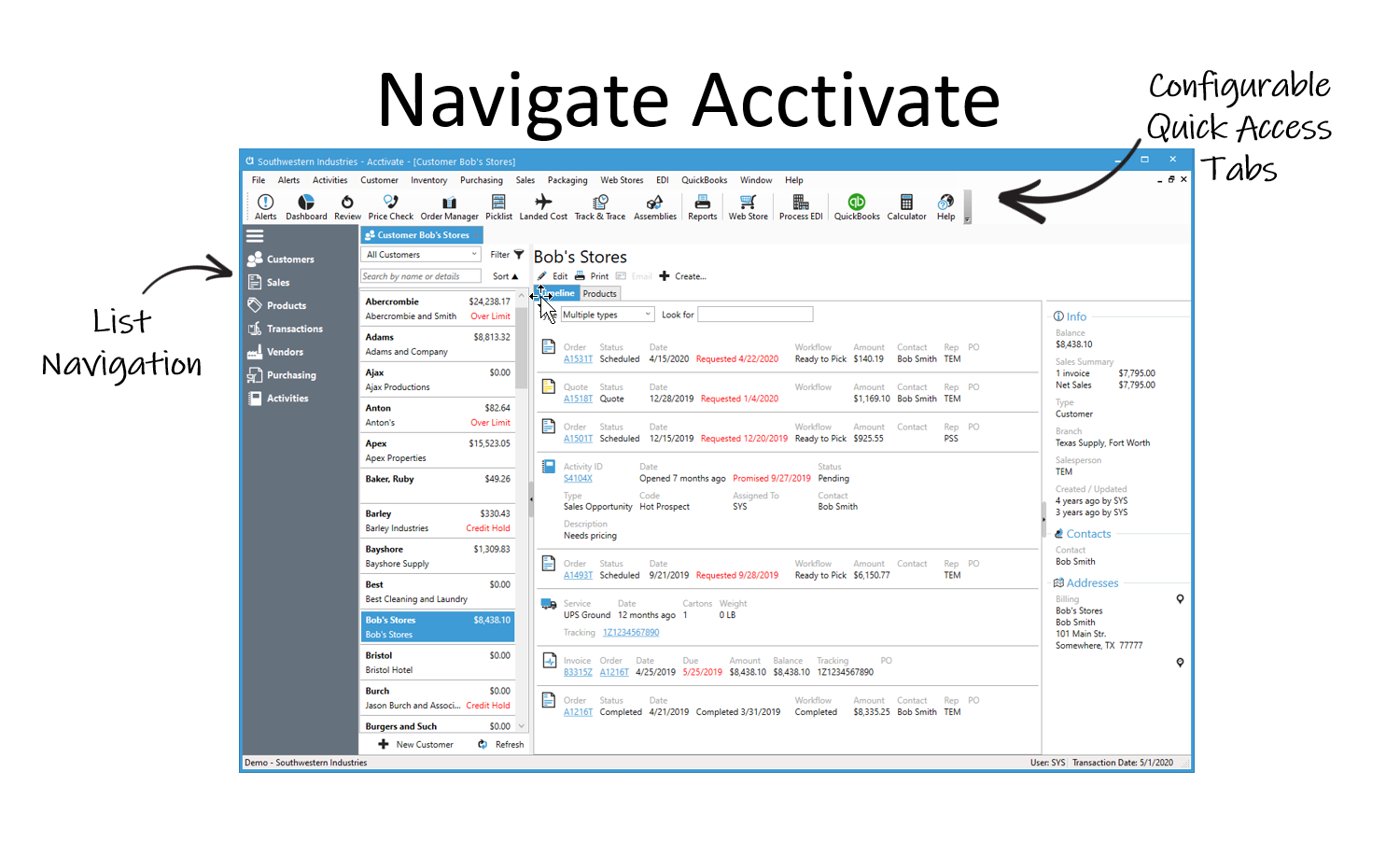 Navigating Acctivate