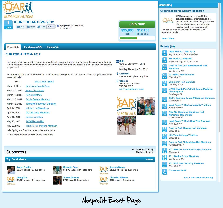 Nonprofit Event Page