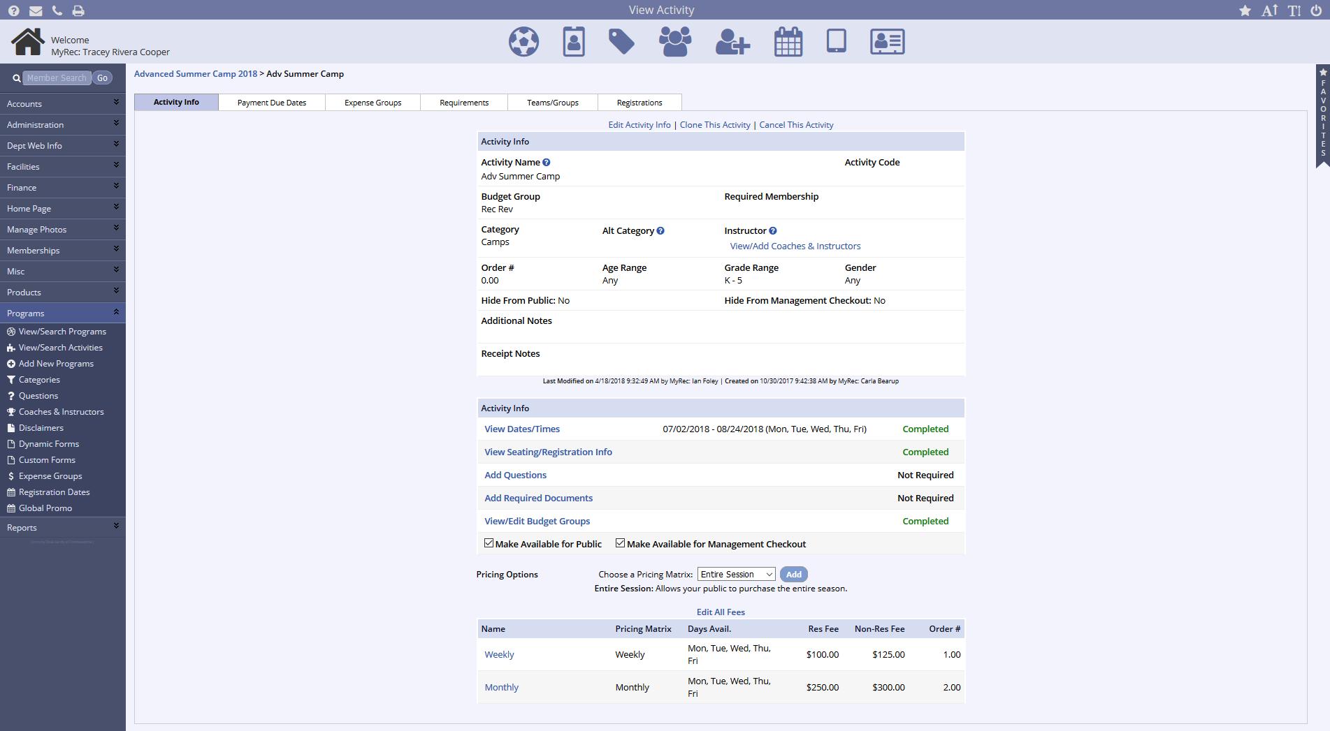MyRec.com activity tracking