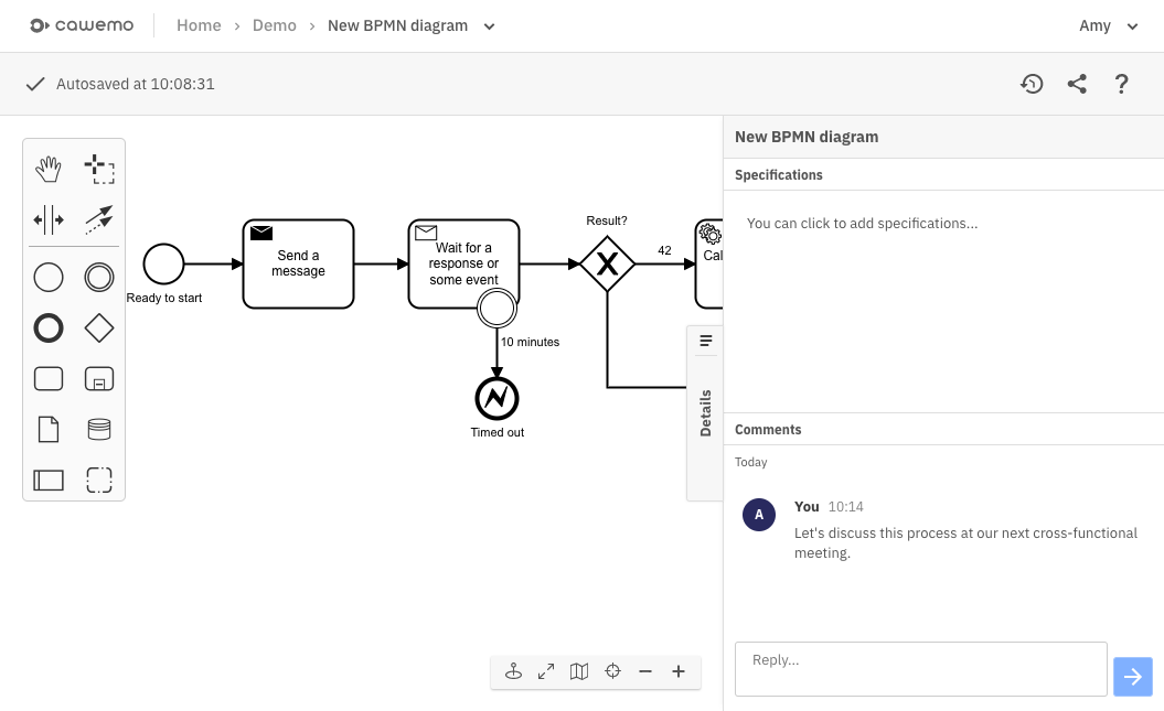 Cawemo allows you to create BPMN process diagrams with all stakeholders involved to specify the workflow that should be automated. Seek alignment between business analysts, project managers, and IT people to implement the right process.