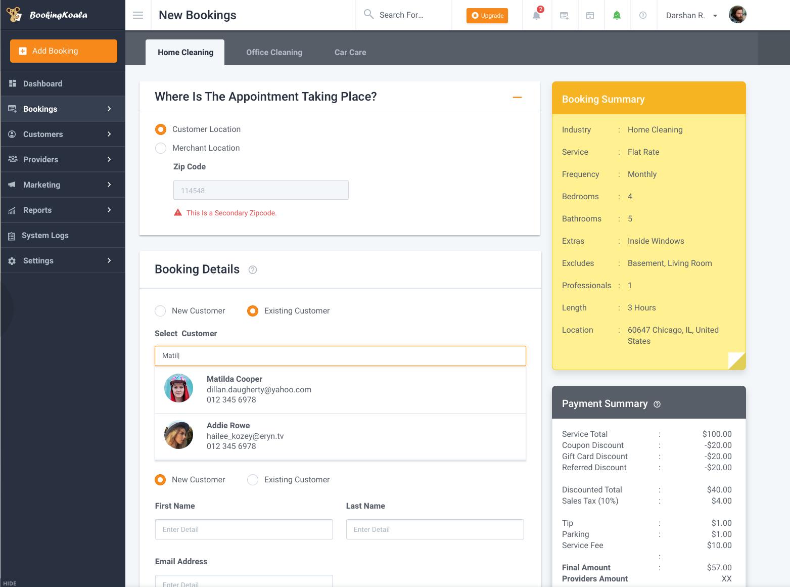 BookingKoala Software - New booking