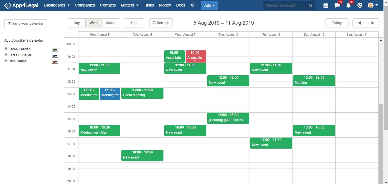 App4Legal calendar