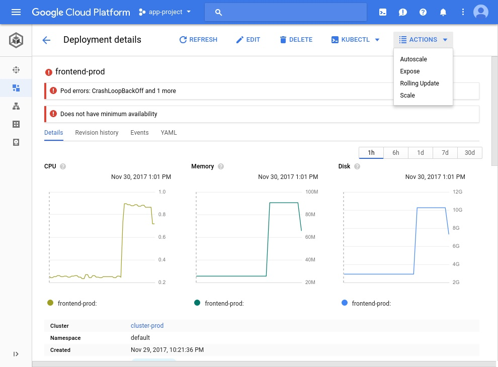 Google Cloud Platform deployment details