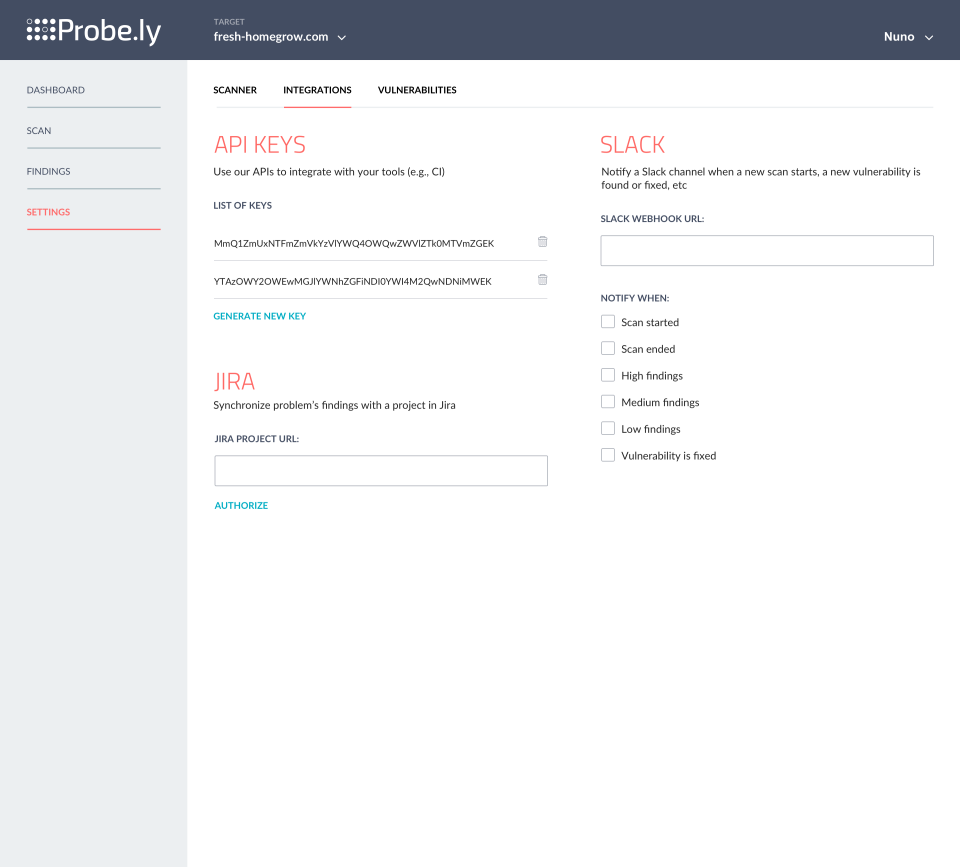 Probely Software - Probely integrations screenshot