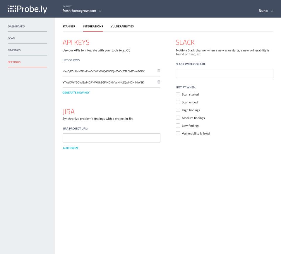Probely integrations screenshot