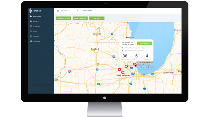 Users can view per-location reports through the dashboard
