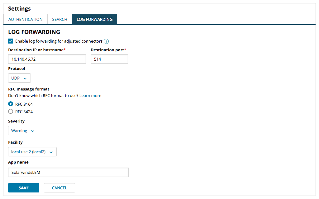Security Event Manager log forwarding screenshot