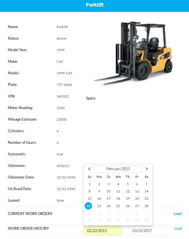Manage all asset maintenance including vehicles