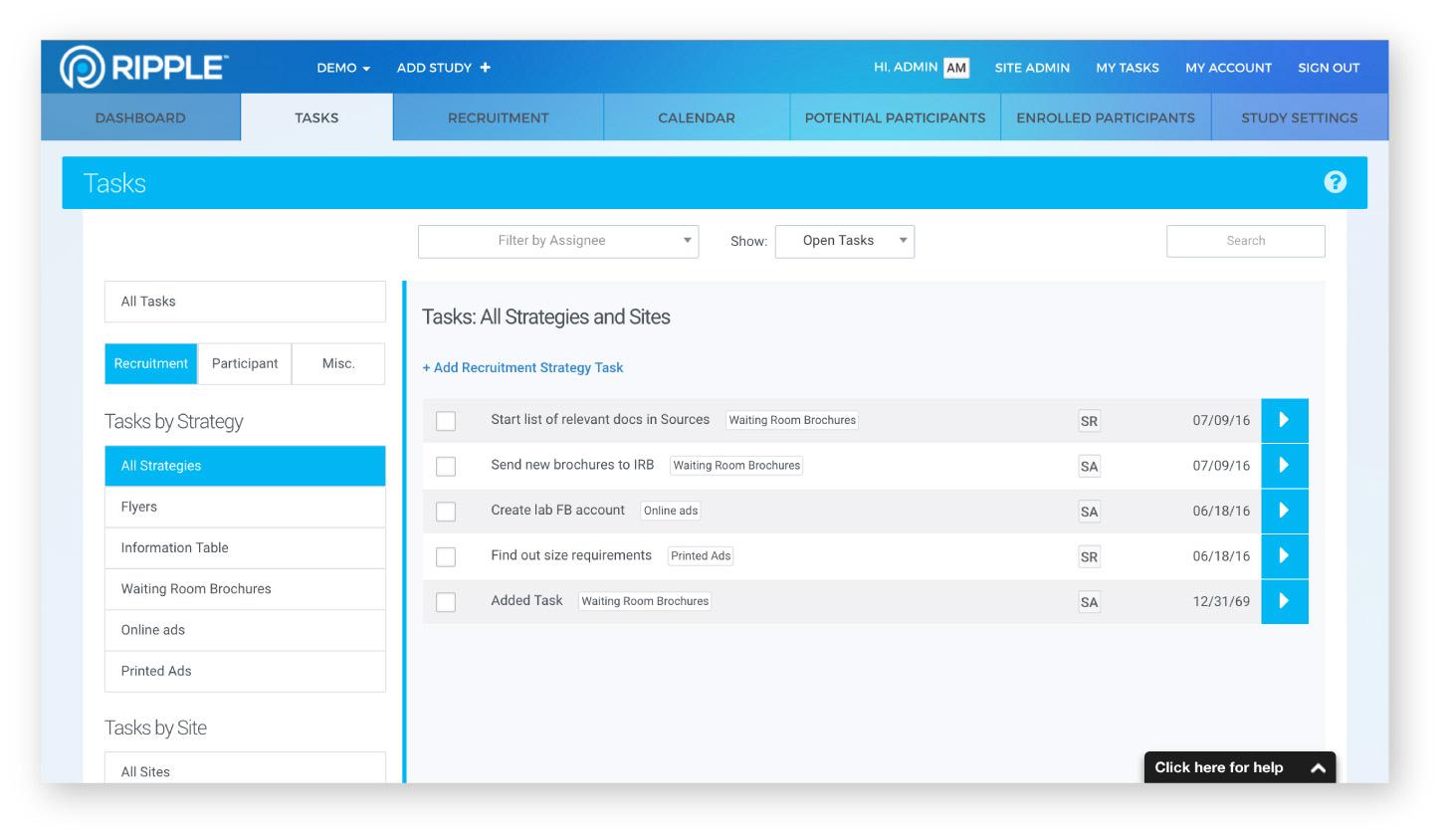 Ripple task management screenshot