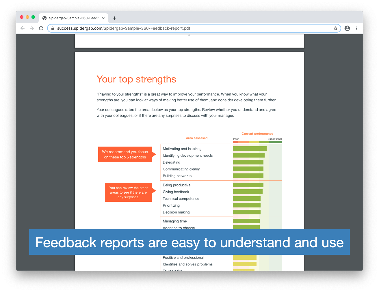 Spidergap Software - Feedback reports are easy to understand and use