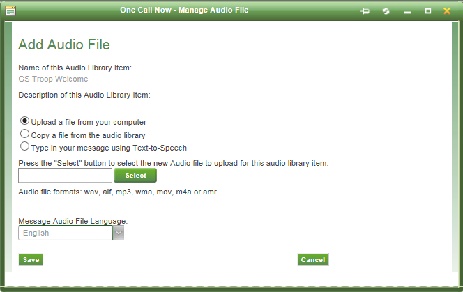 One Call Now Adding audio file
