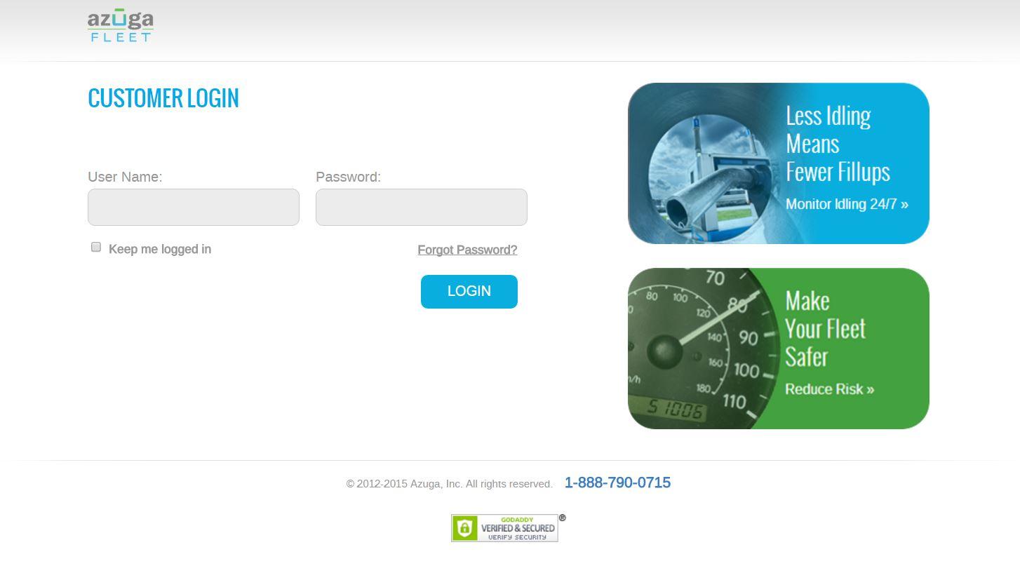 Azuga Fleet screenshot: The Azuga user login page