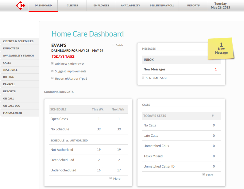Carecenta offers users dashboards customized by role