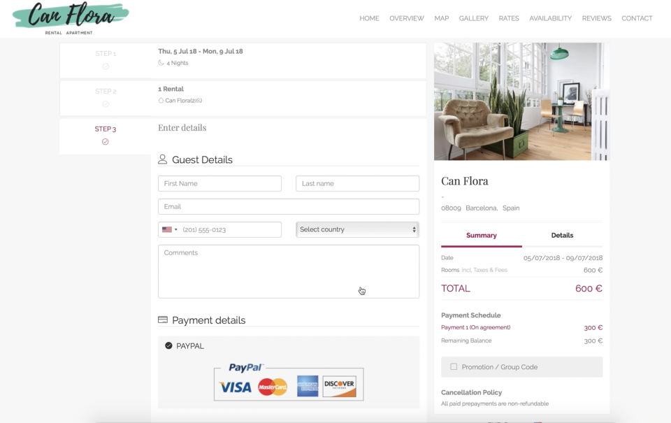 All website templates come with a powerful property management system that includes a seamlessly integrated booking engine so you can instantly start accepting credit card payments and an advanced reservation system for managing bookings