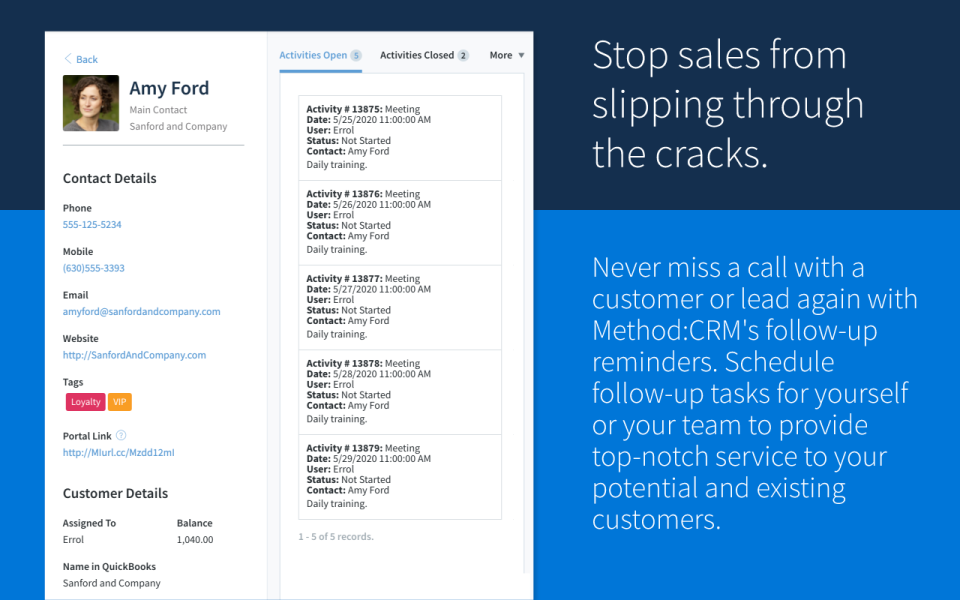 Method CRM Software - Native integration with Gmail, Outlook, and Calendar to automatically collect leads, so your team will never miss an opportunity and save time to close more sales.