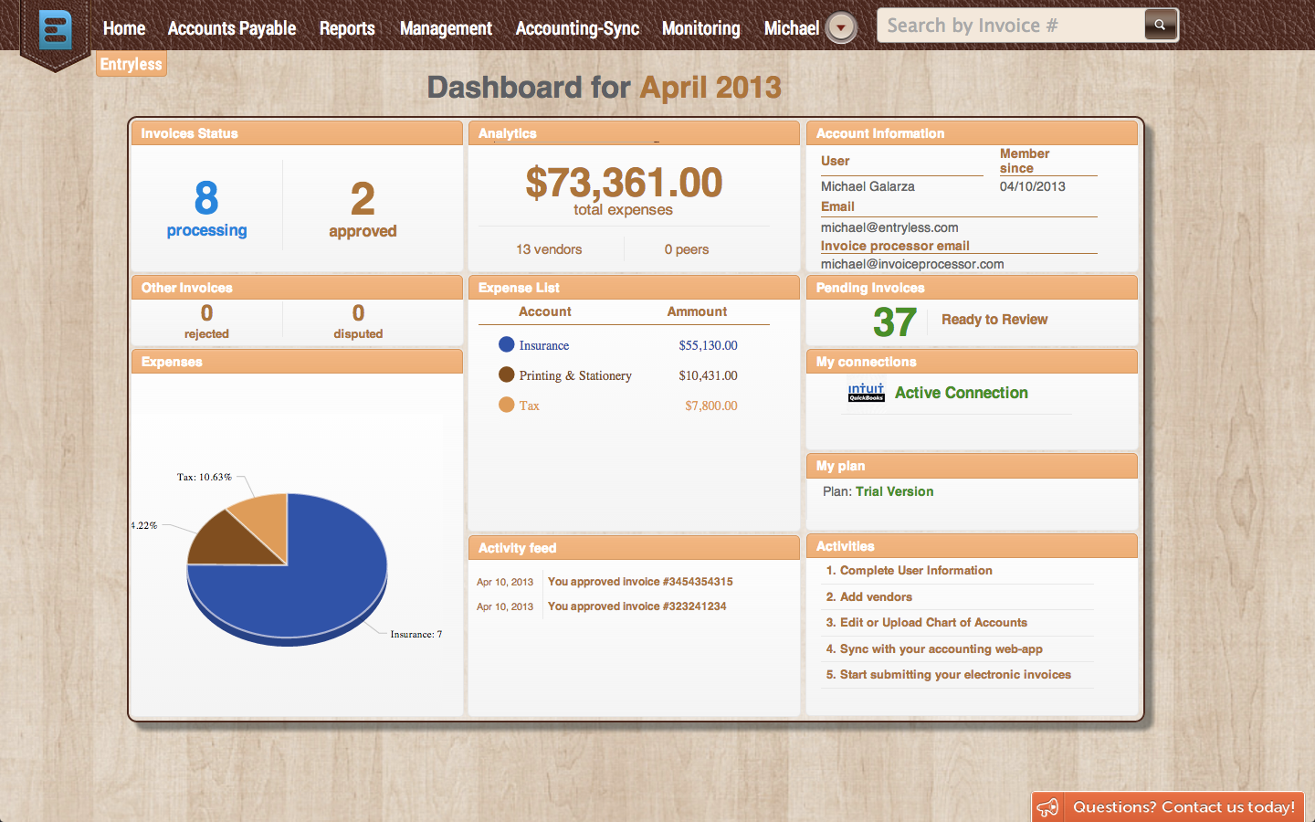 Get an overview on invoice activity from the central dashboard