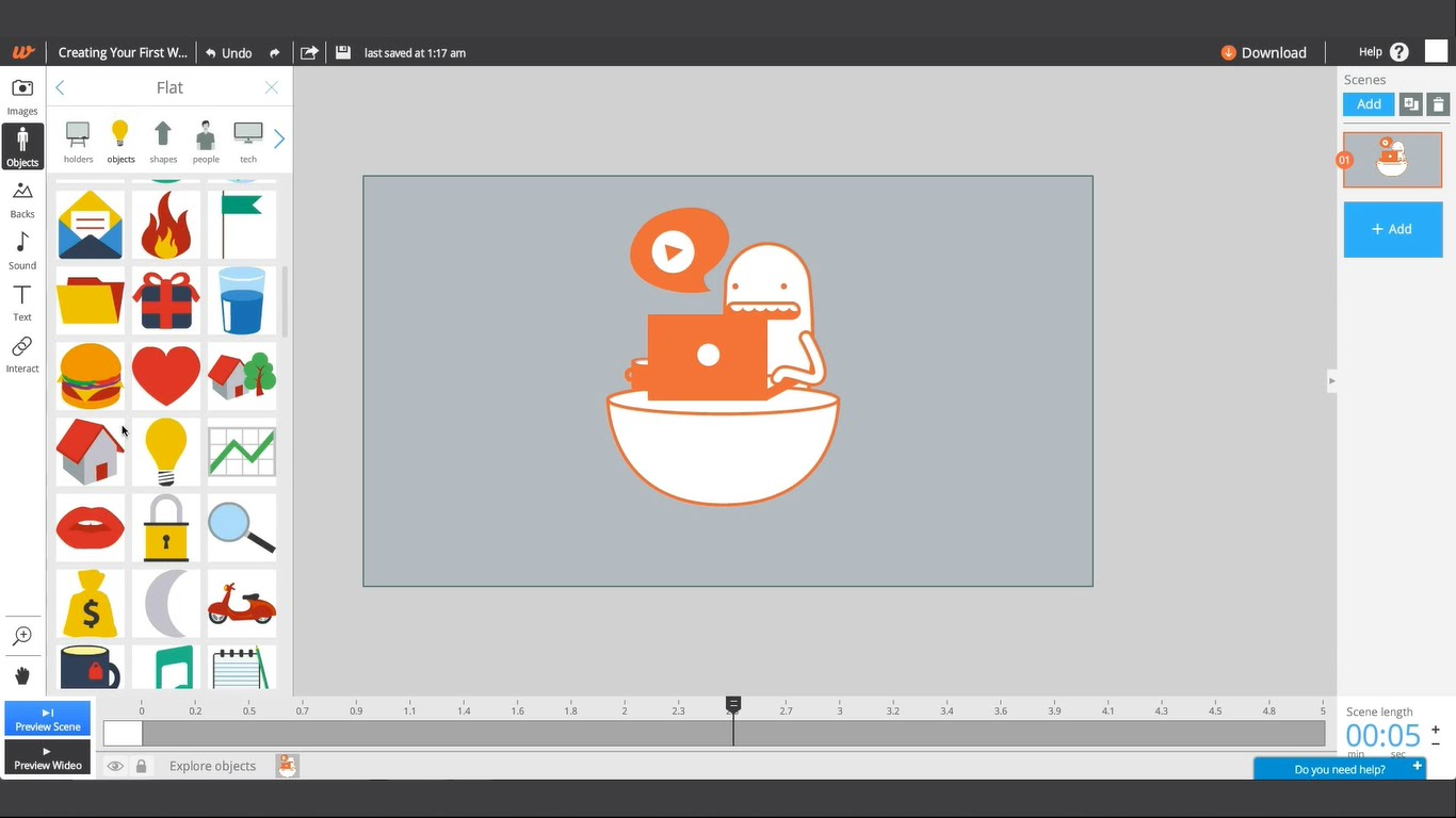 Quickly add scenes to create a custom professional videos in minutes