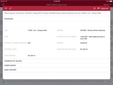 CMiC screenshot: CMiC helps to create, track and approve vendor applications online