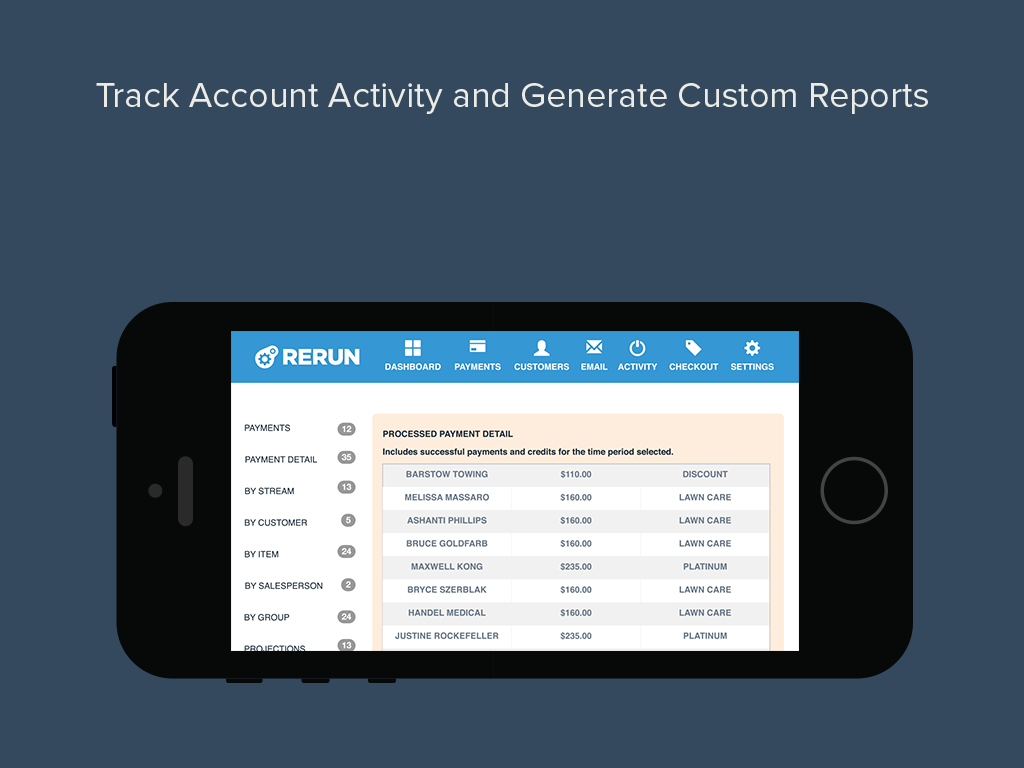 Track account activity and export reports.