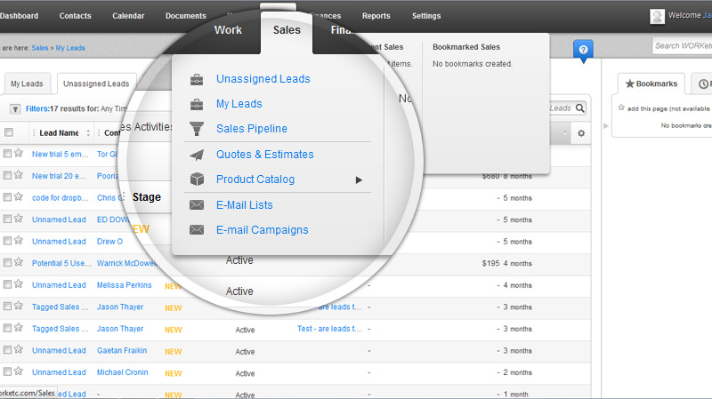Manage Sales Leads, Workflows and Pipeleins