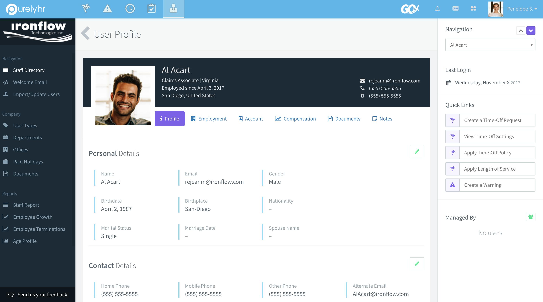 PurelyHR Software - Employee profile - Staff module