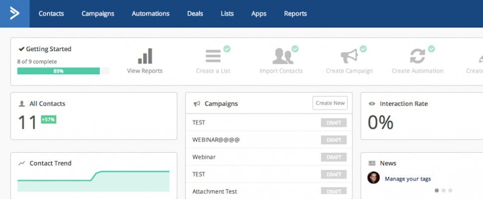 ActiveCampaign Software - Dashboard