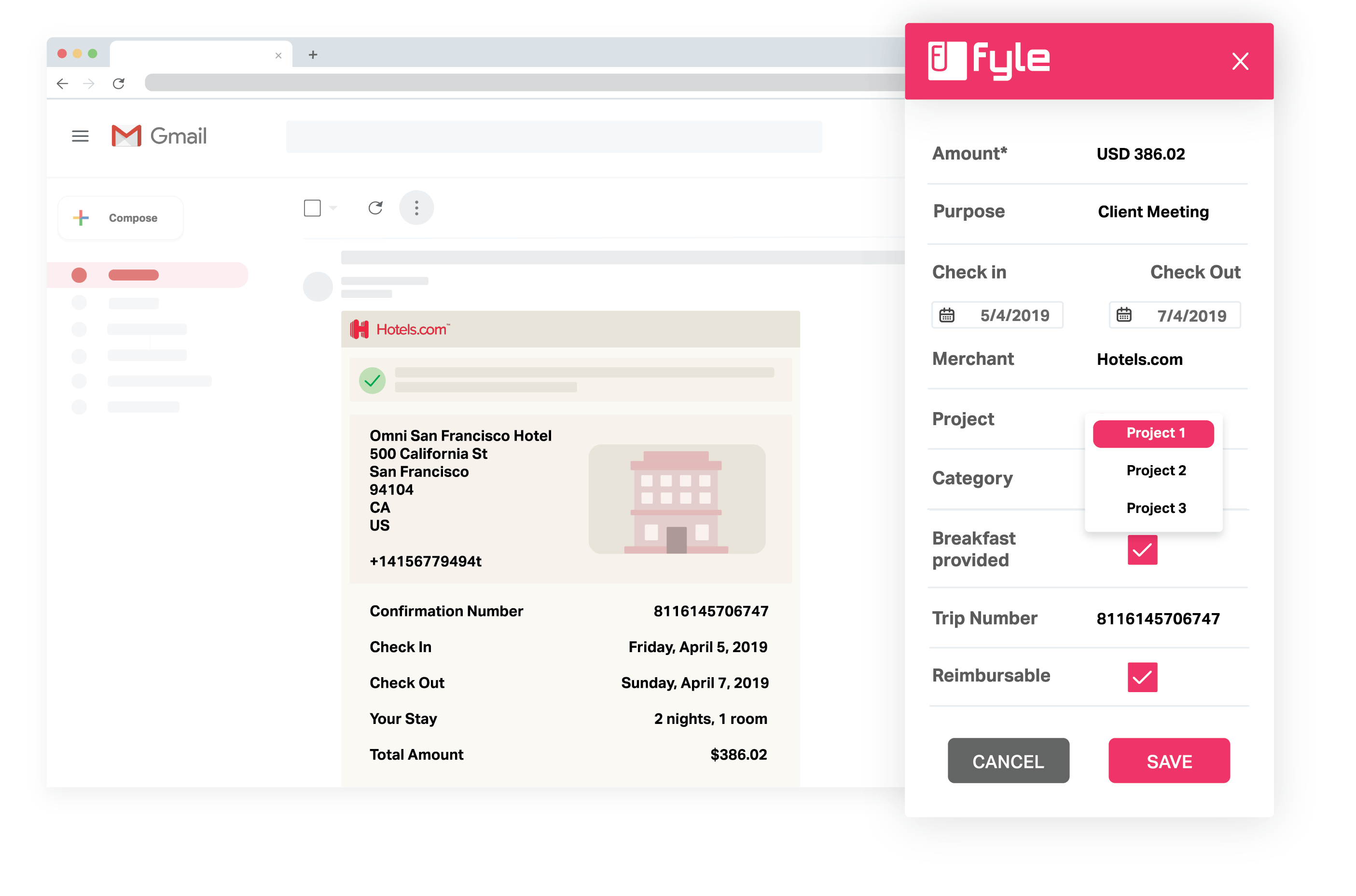 Fyle screenshot: Get more done inside GSuite and Office 365. Give your employees the joy of submitting expenses without leaving GSuite. This makes users submit expenses faster and they will love you for making it this easy.