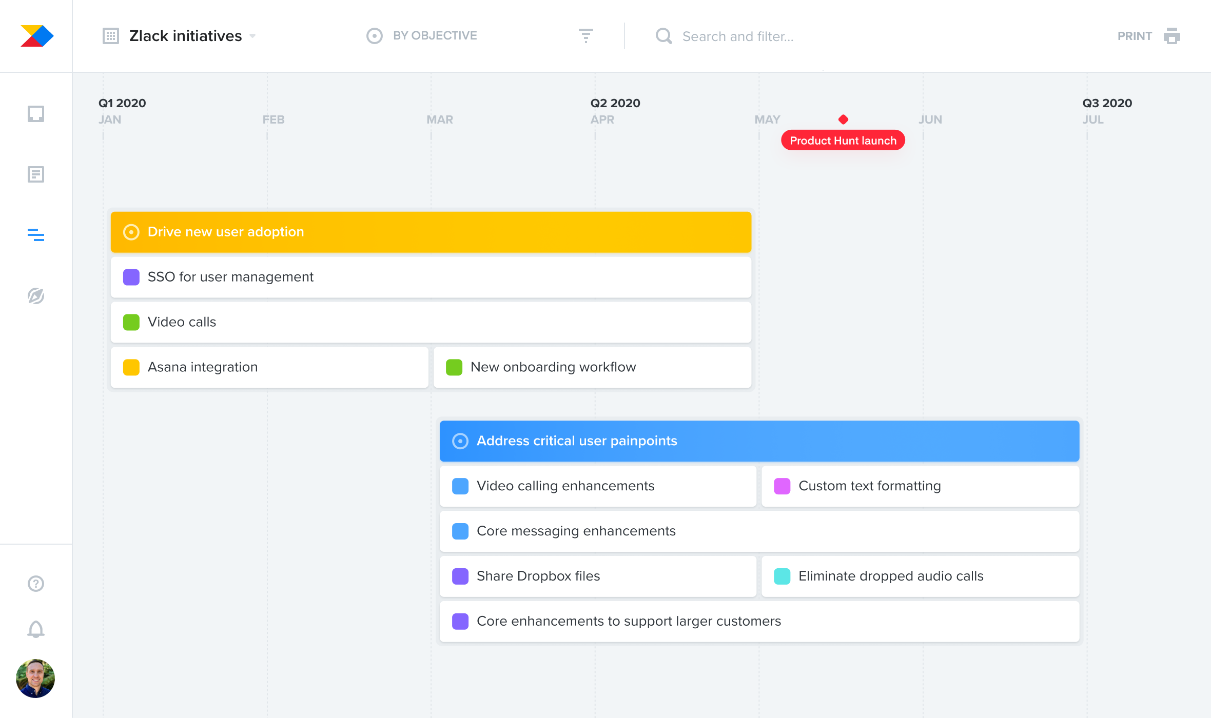 Create timeline roadmaps to plan work in relation to upcoming date-based milestones like a major industry conference, analyst briefing, or marketing launch