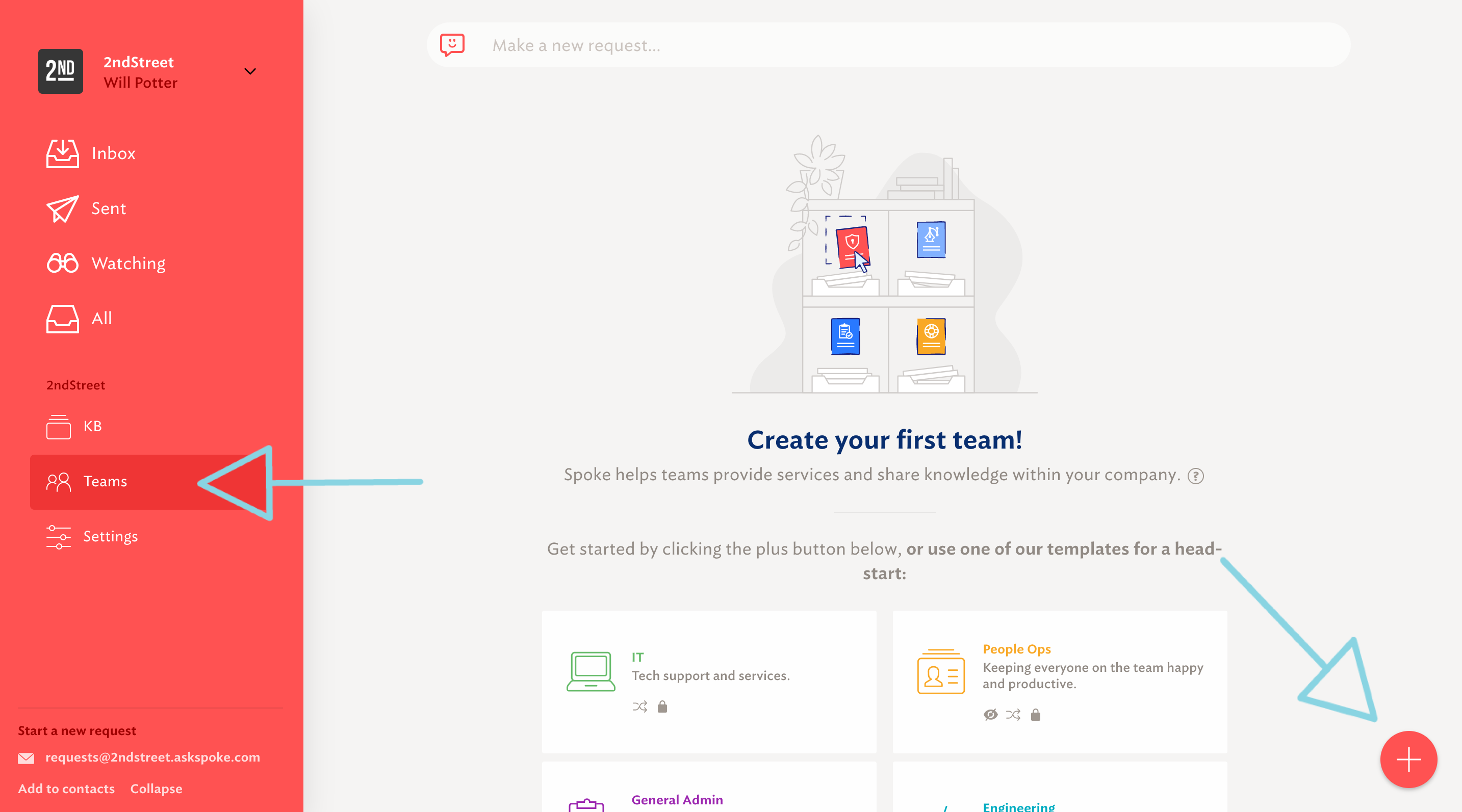 Create a new team or use one of Spoke's templates for a head-start