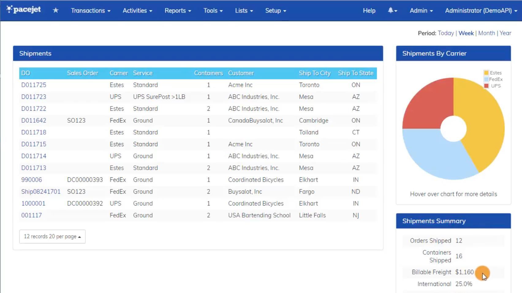 Pacejet screenshot: Shipments