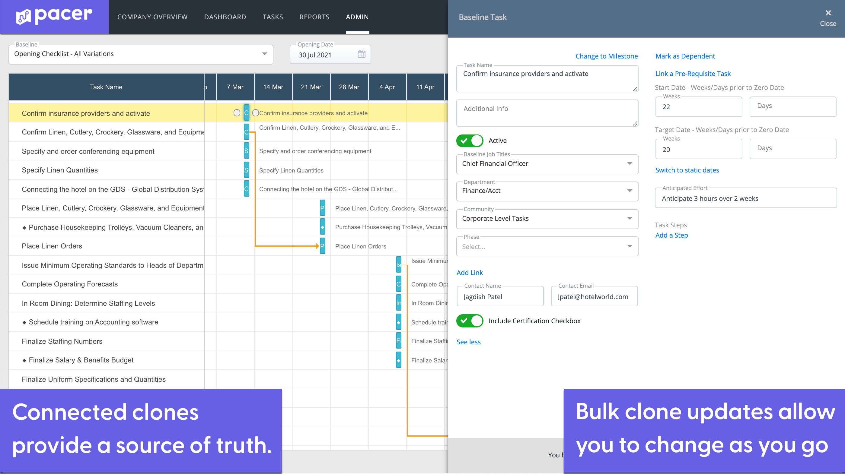 Faster Deployment with Consistency - Pacer provides actionable data that lets you deploy projects and update multiple tasks in bulk. Tweak tasks, change deadlines, update teams on the fly, and never lose sight of where you are and where you're going.