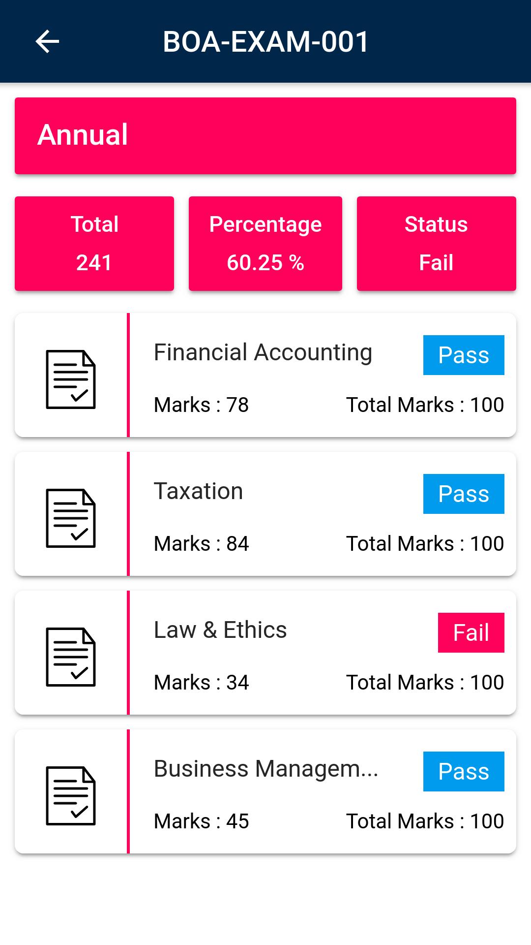 OpenEduCat examination schedule