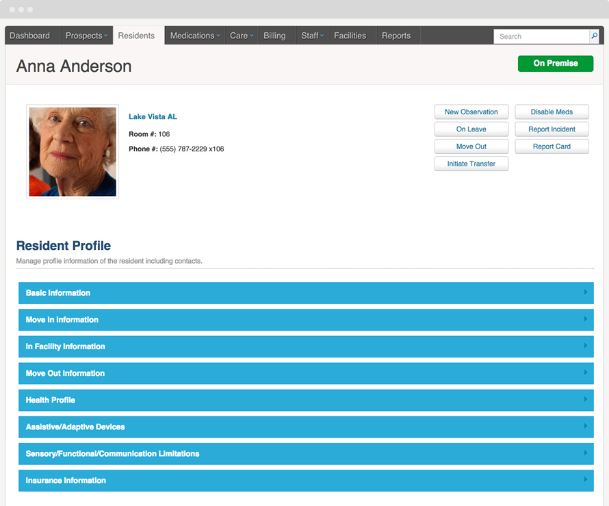 The resident profile displays information about each resident in the facility