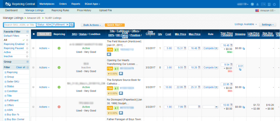 BQool Repricing Central manage listings