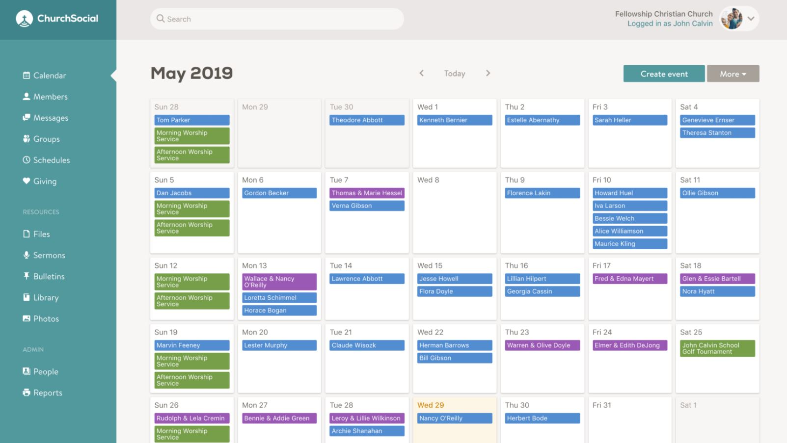 Church Social calendar