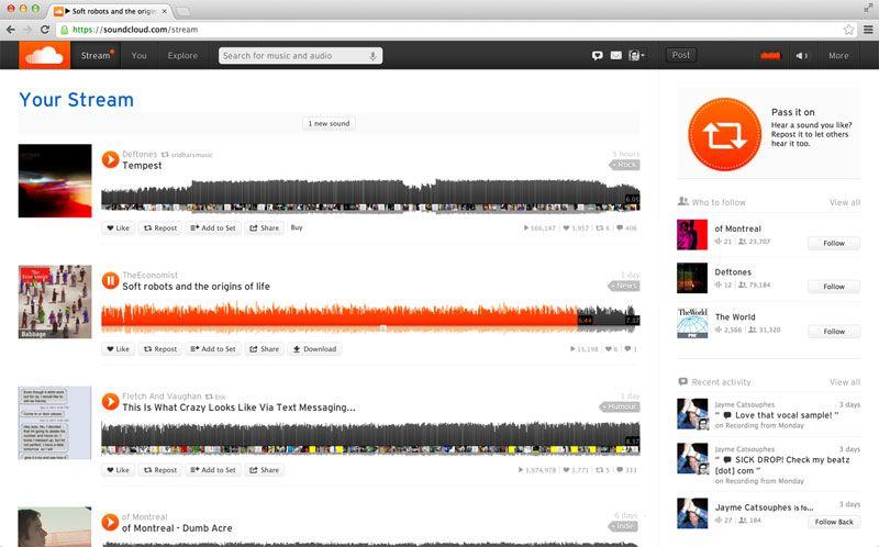 SoundCloud personal streams