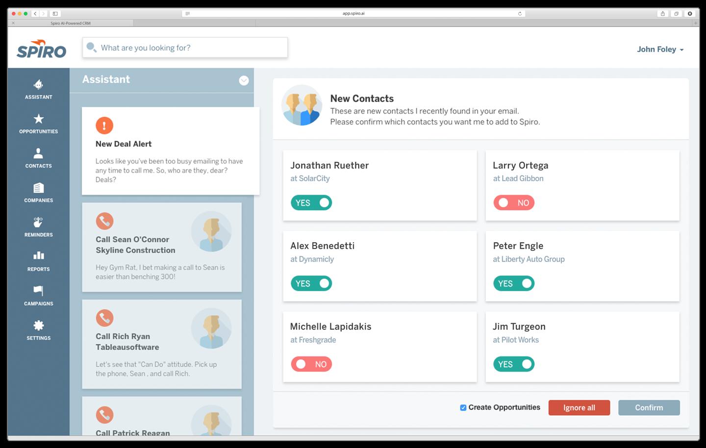 Spiro Software - Spiro Automatically Creates Contacts