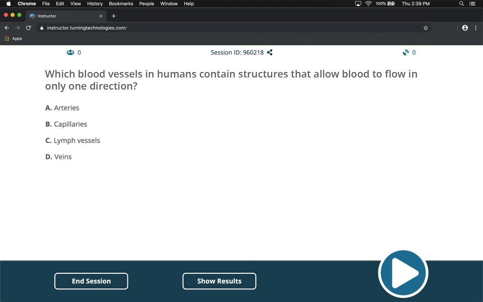 Turning screenshot: TurningPoint quiz