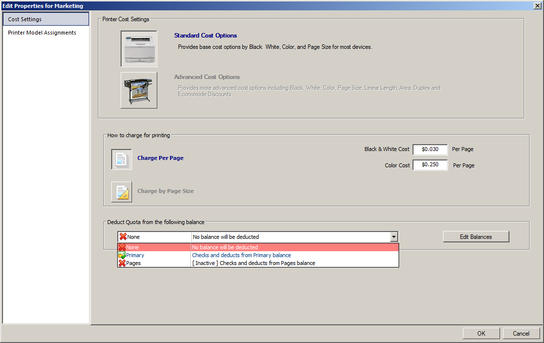 Print Manager Plus Software - Print Manager Plus cost and quota settings