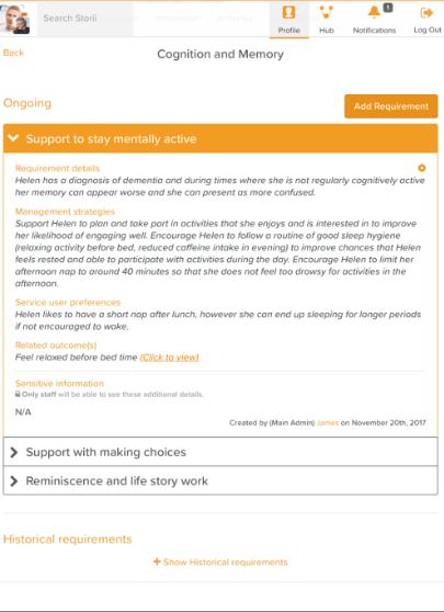StoriiCare Software - StoriiCare resident profile