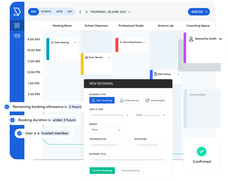 The Skedda booking calendar allows users to automate complex booking tasks.